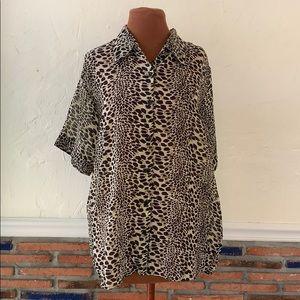 Leopard print sheer button down top